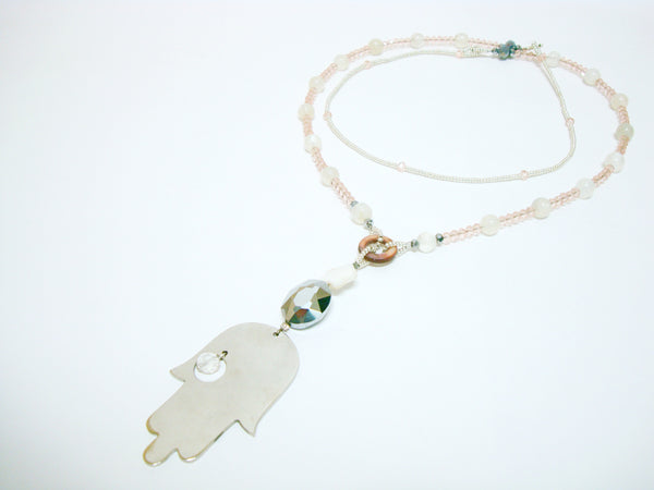 Fabulous One Strand Pink Hamsa Necklace