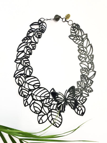 Butterfly and Leaf Necklace