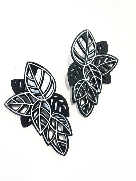 Hand-painted White & Black Leaf Earrings