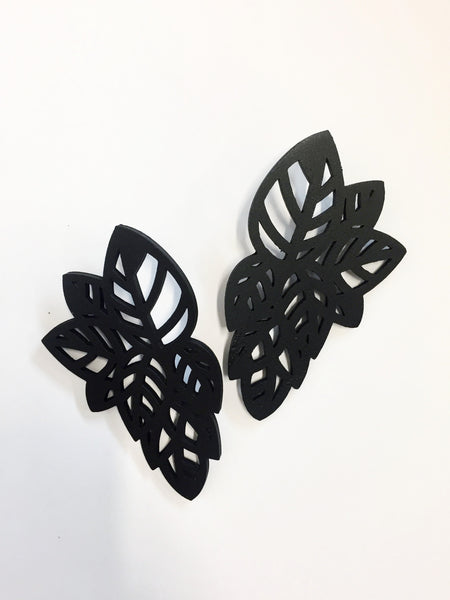 Black Leaf Earrings