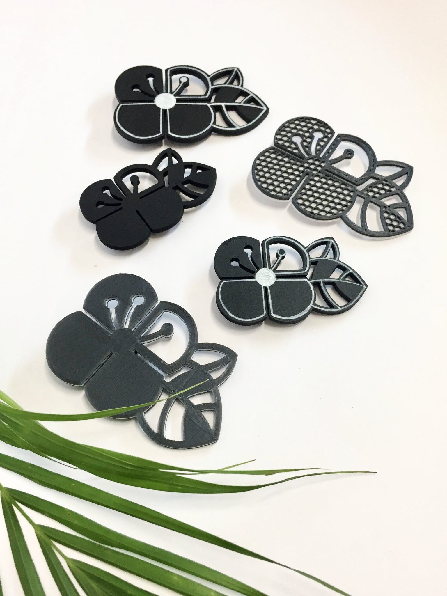 Oreo Style Graphic Flower Brooch