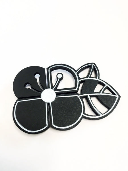 Hand-painted Graphic Flower Brooch (big)