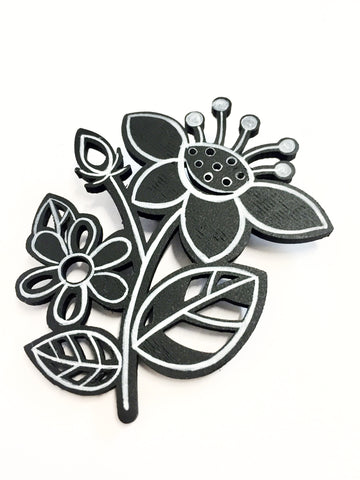 Hand-painted Flower Brooch