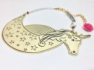 Unicorn necklace with rose. It's a magical party!