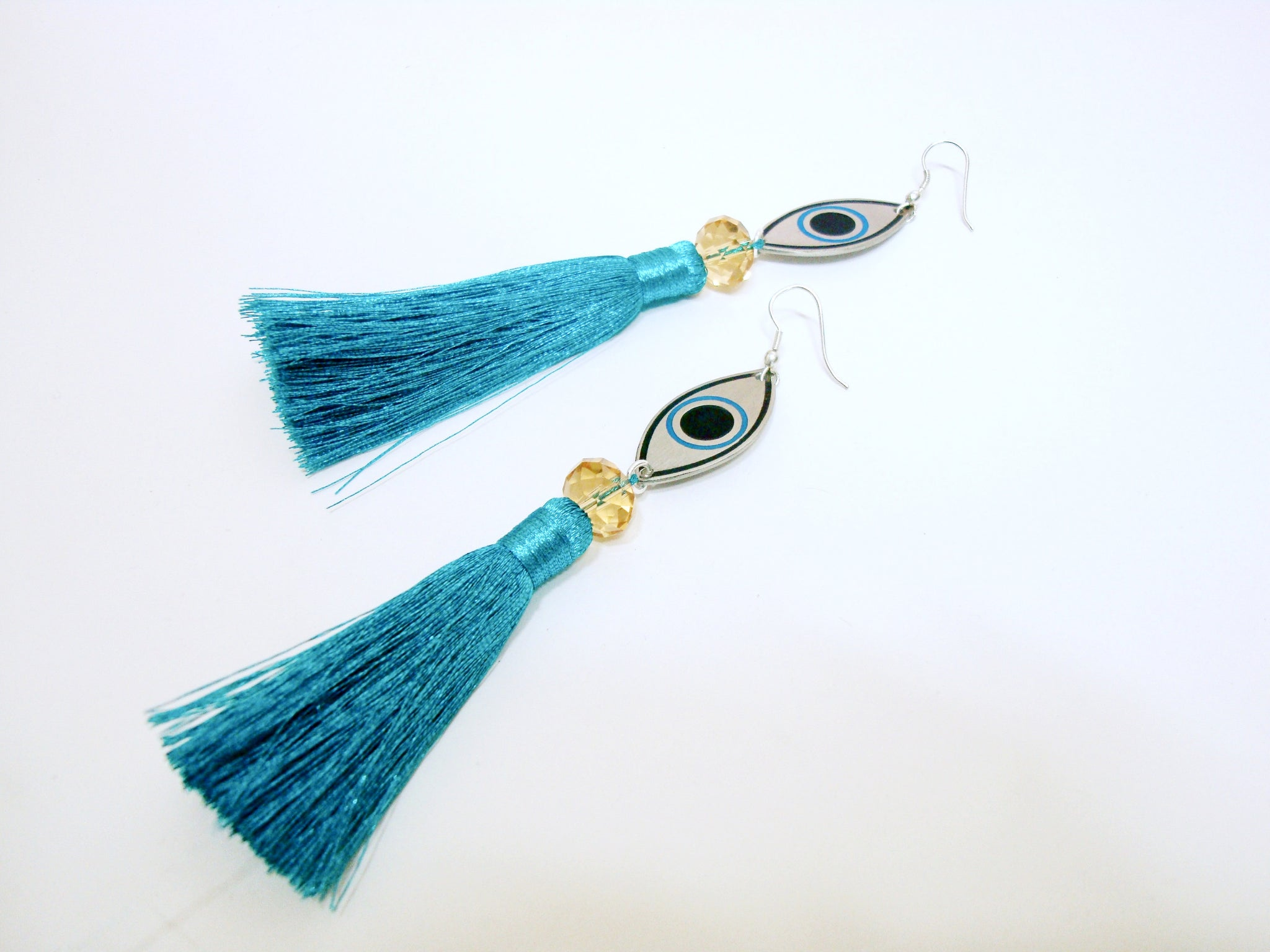 Evil Eye Blue Tassel Earrings