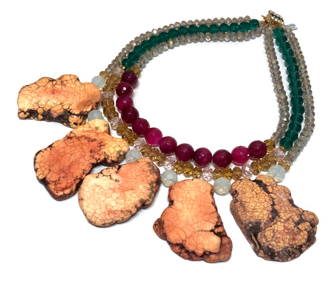 Signature Beaded Colorful Flintstone Necklace