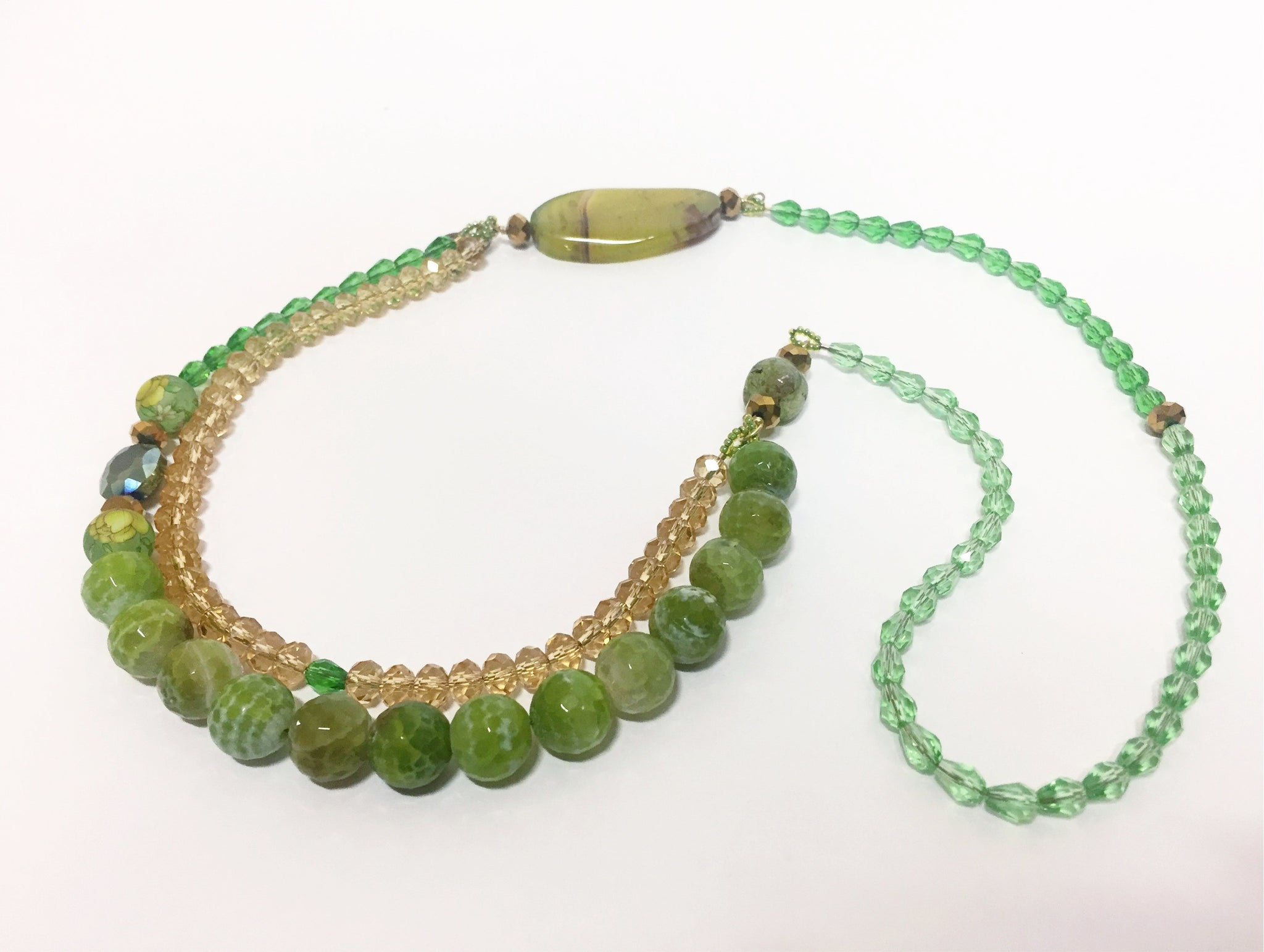 Signature Beaded Moss Green Necklace - Riddhika Jesrani