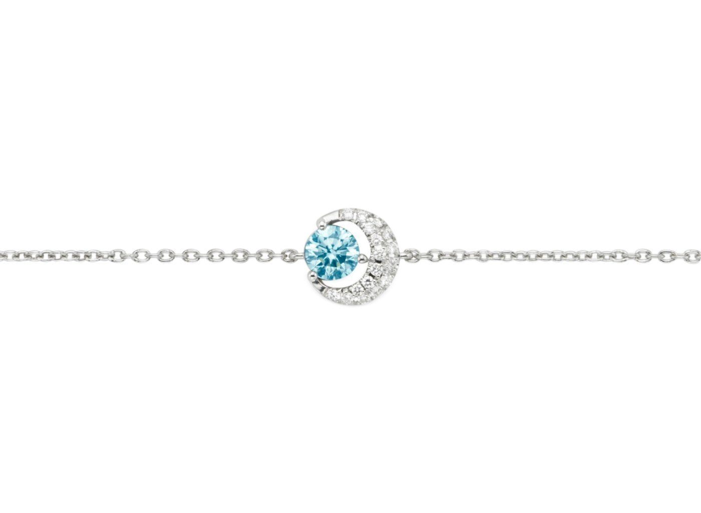 Front view of Moon 1/2 carat bracelet with blue and white diamonds