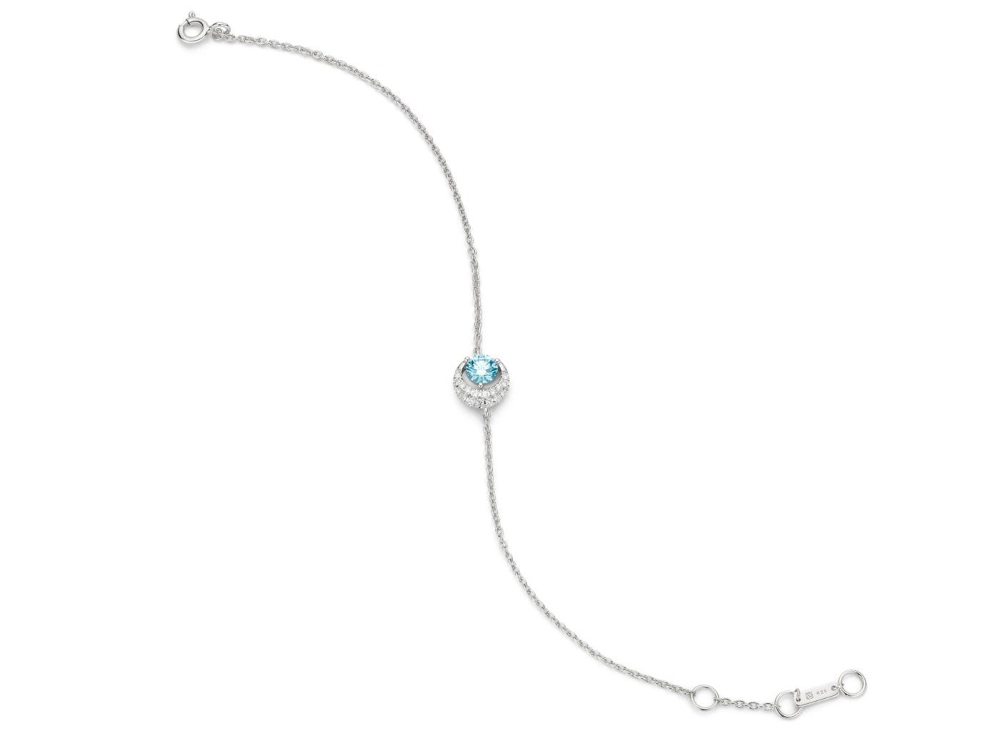 Wide view of Moon 1/2 carat bracelet with blue and white diamonds