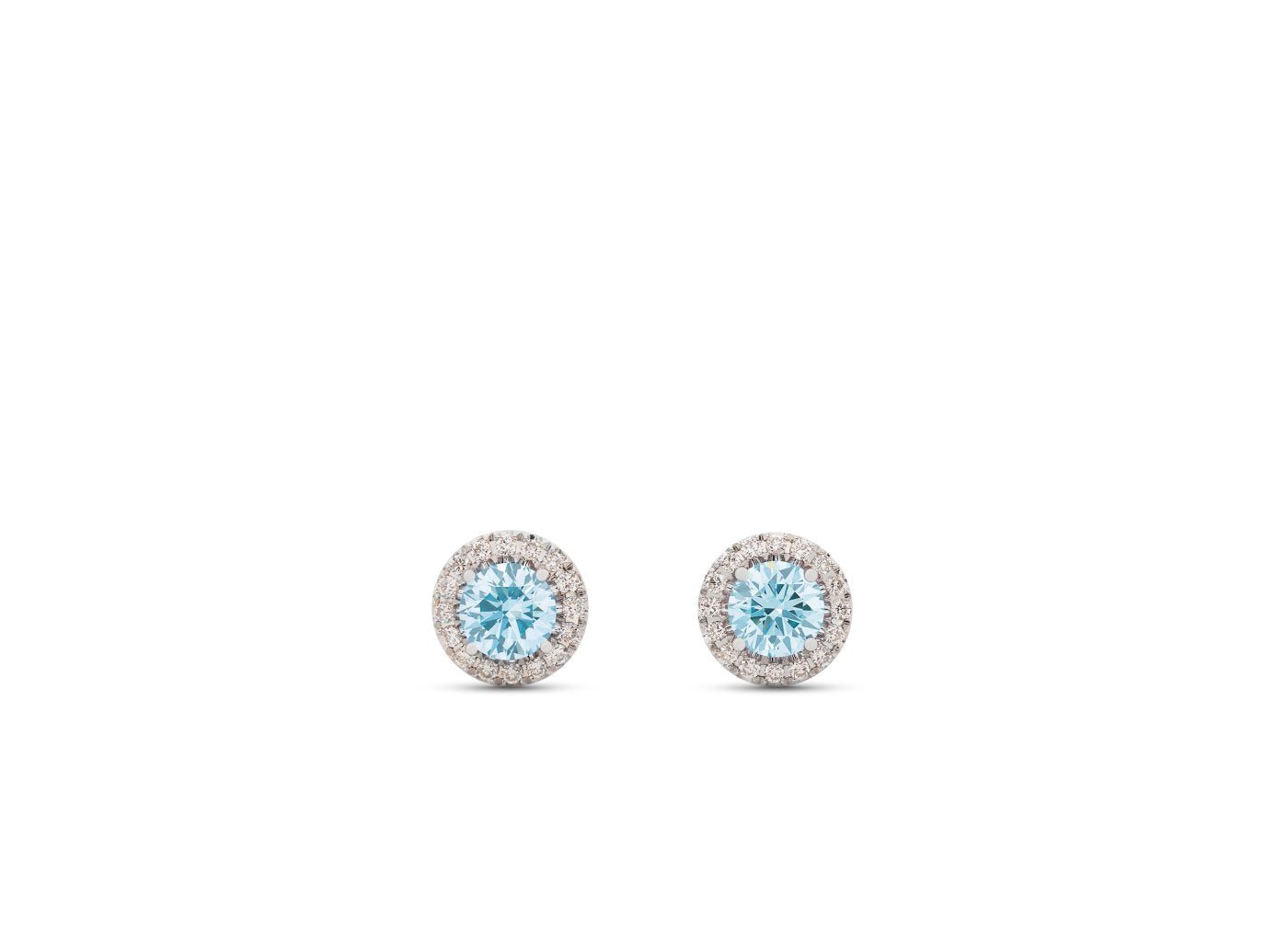 Front view of Halo 1/2 carat earrings with blue and white diamonds
