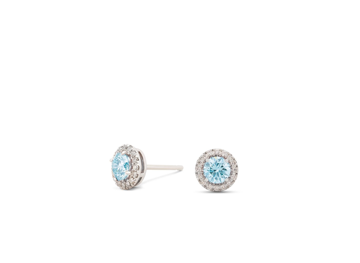 Side view of Halo 1/2 carat earrings with blue and white diamonds