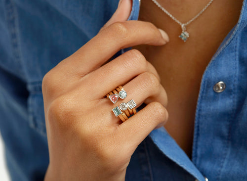 Image: Baguette Open Top Ring in Blue