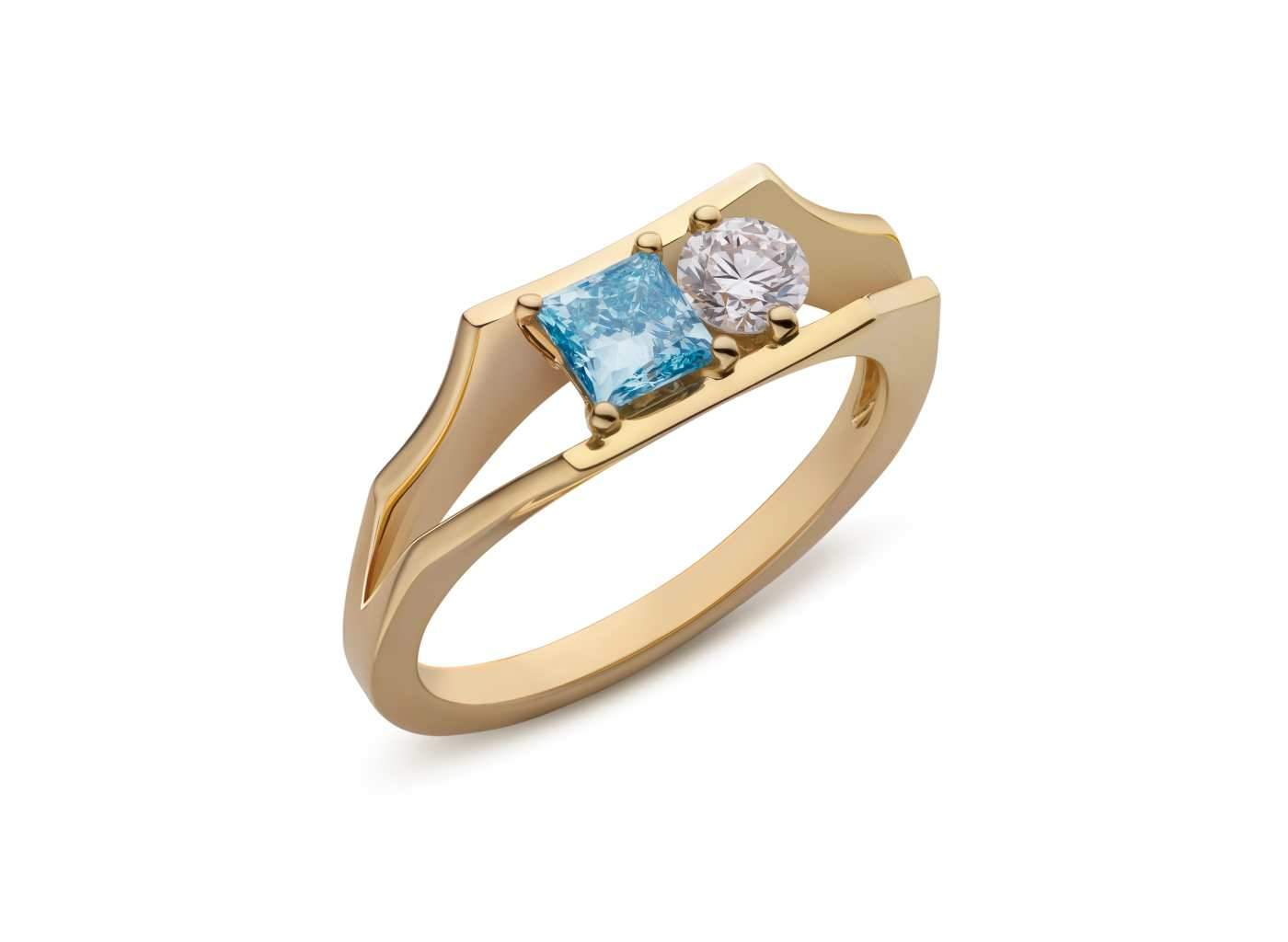 Two Stone Open Shank Ring in Blue