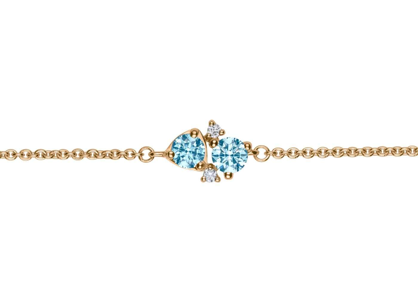 Front view of Four Stone Cluster 1/2 carat bracelet with blue and white diamonds