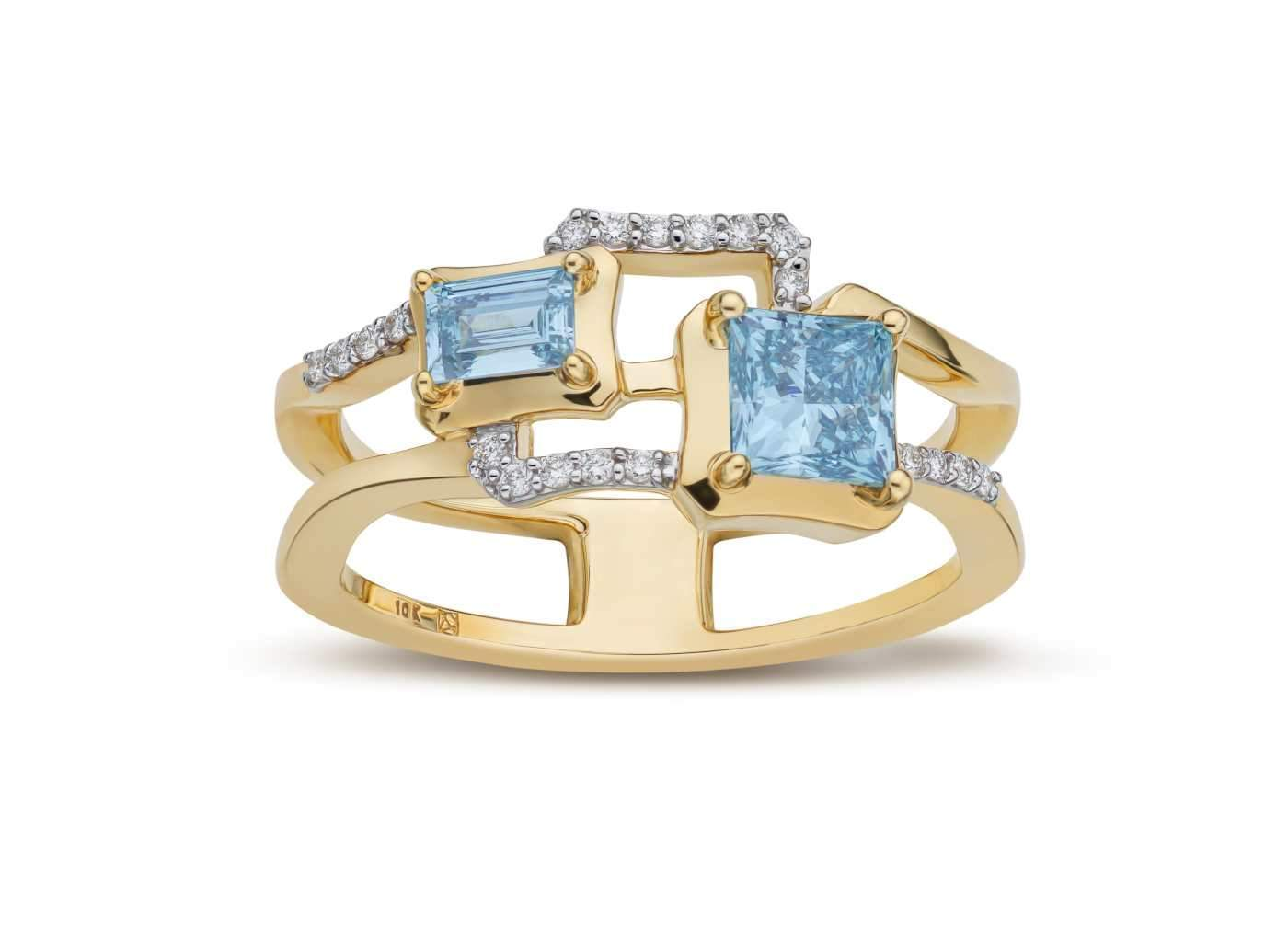Front view of 2 Stone Frame work Ring with blue and white diamonds