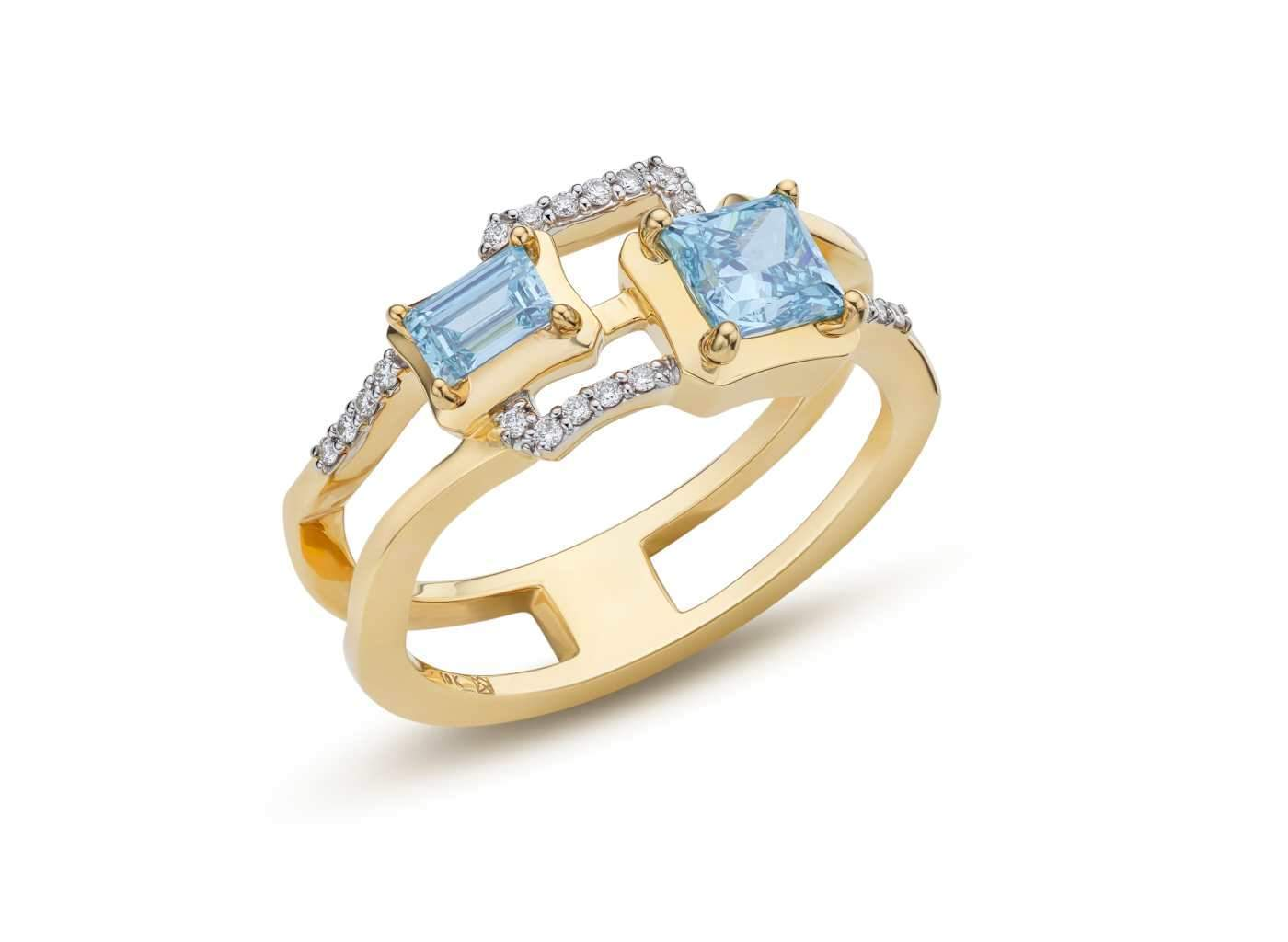 Side view of 2 Stone Frame work Ring with blue and white diamonds