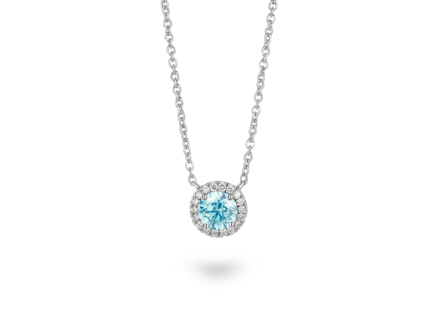 Front view of Halo 3/4 carat pendant with blue and white diamonds