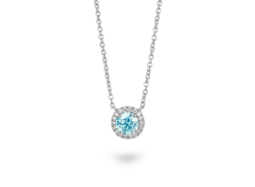 Image: Front view of Halo 3/4 carat pendant with blue and white diamonds