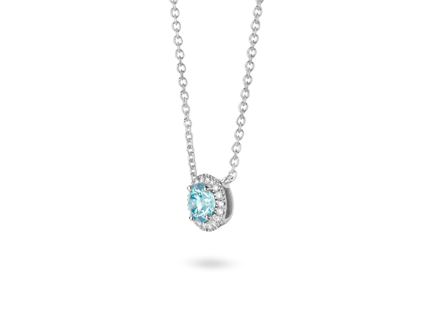Side view of Halo 3/4 carat pendant with blue and white diamonds