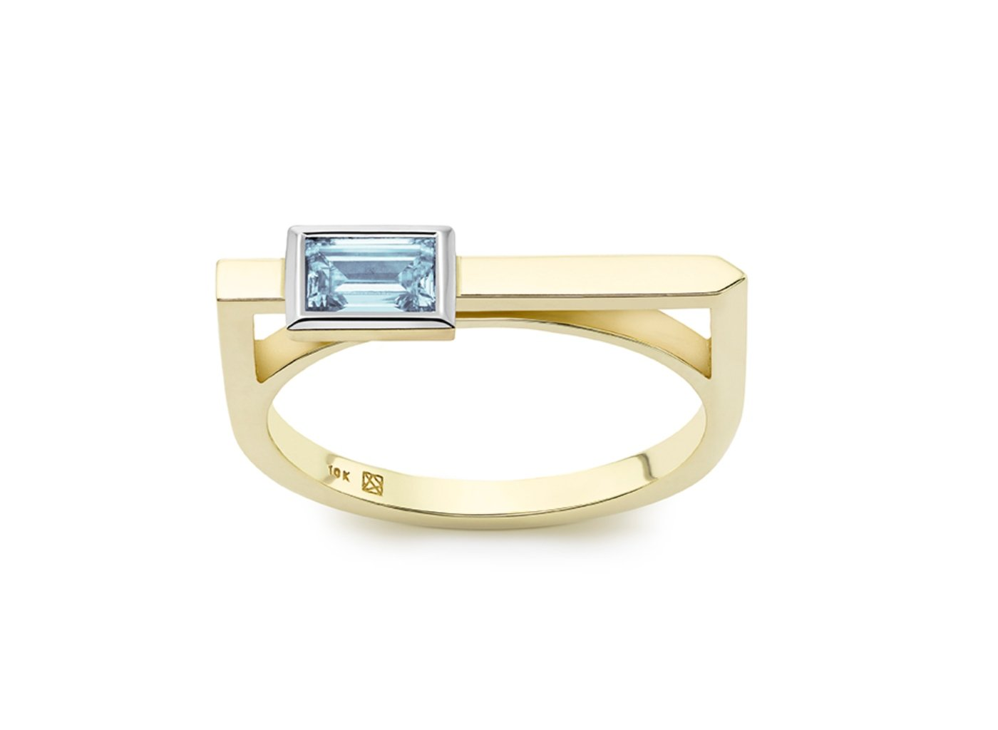 Front view of Baguette linear 3/8 carat ring with blue diamond