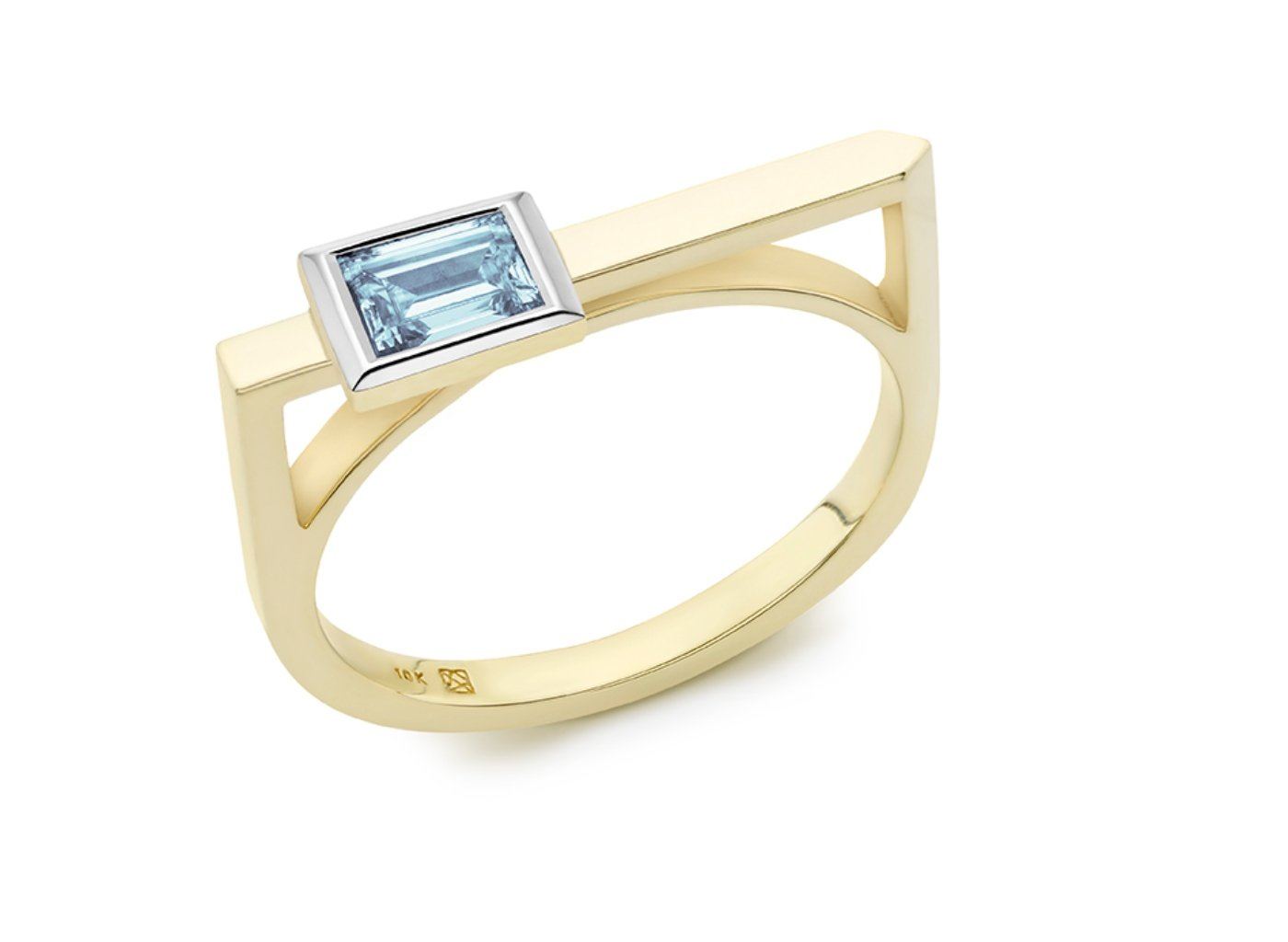 Side view of Baguette linear 3/8 carat ring with blue diamond