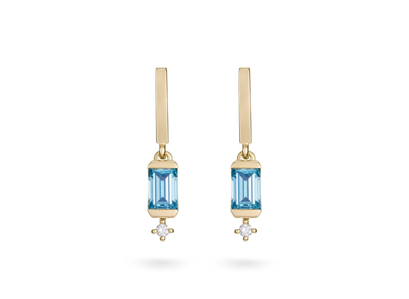 Front view of Linear Drop 4/5 carat earrings with blue and white diamonds