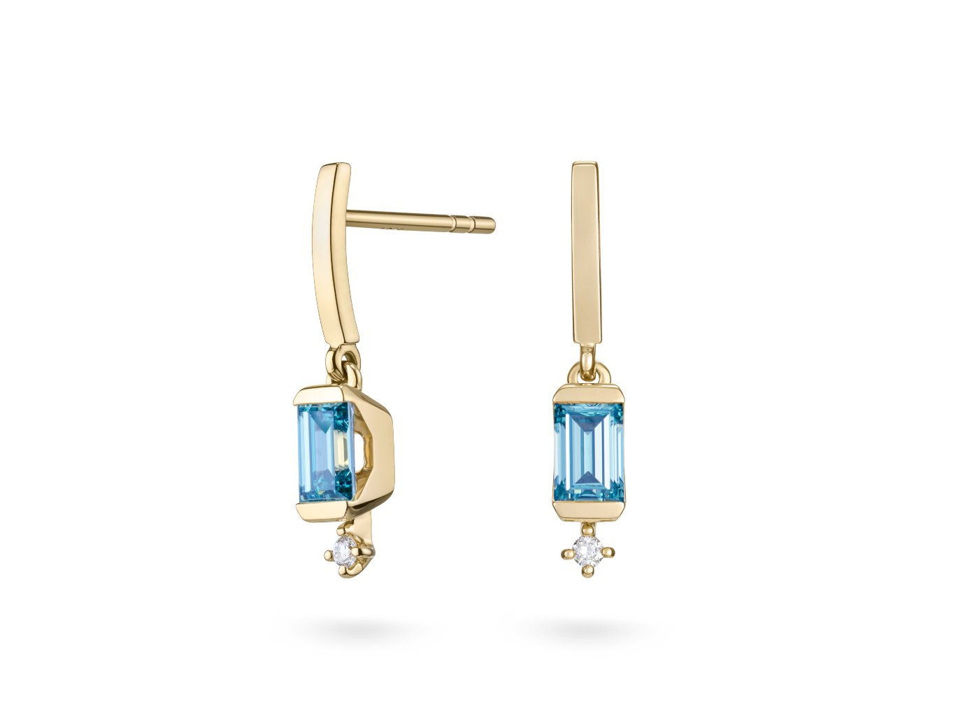 Side view of Linear Drop 4/5 carat earrings with blue and white diamonds