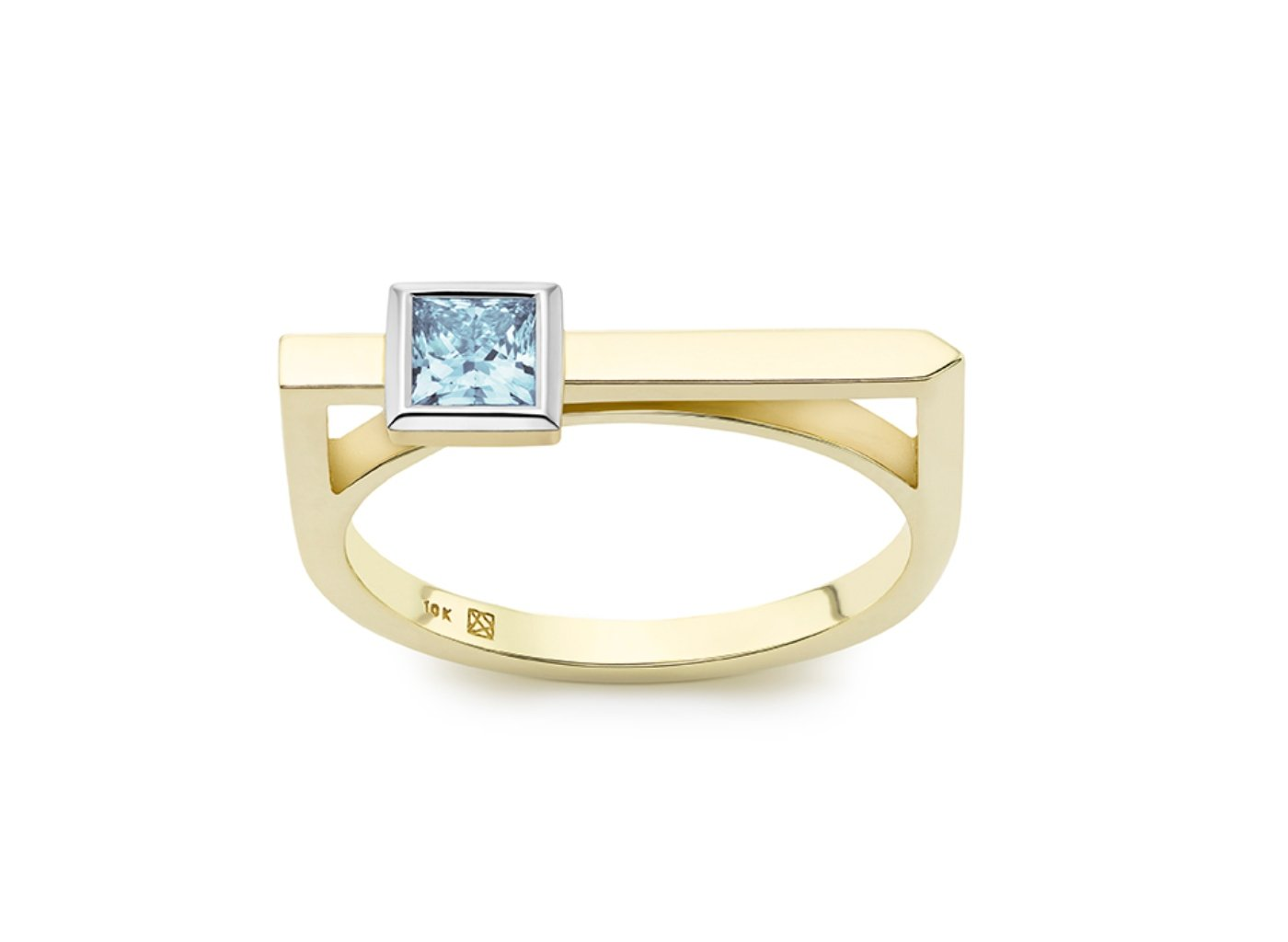 Front view of Princess linear 3/8 carat ring with blue diamond