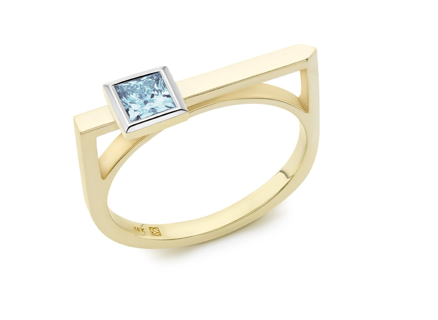 Side view of Princess linear 3/8 carat ring with blue diamond