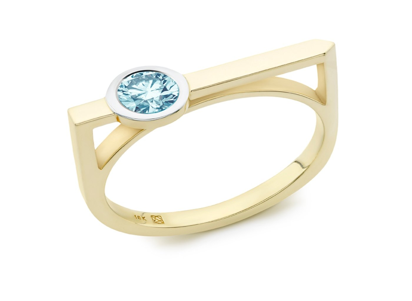 Side view of Solitaire linear 3/8 carat ring with blue diamond