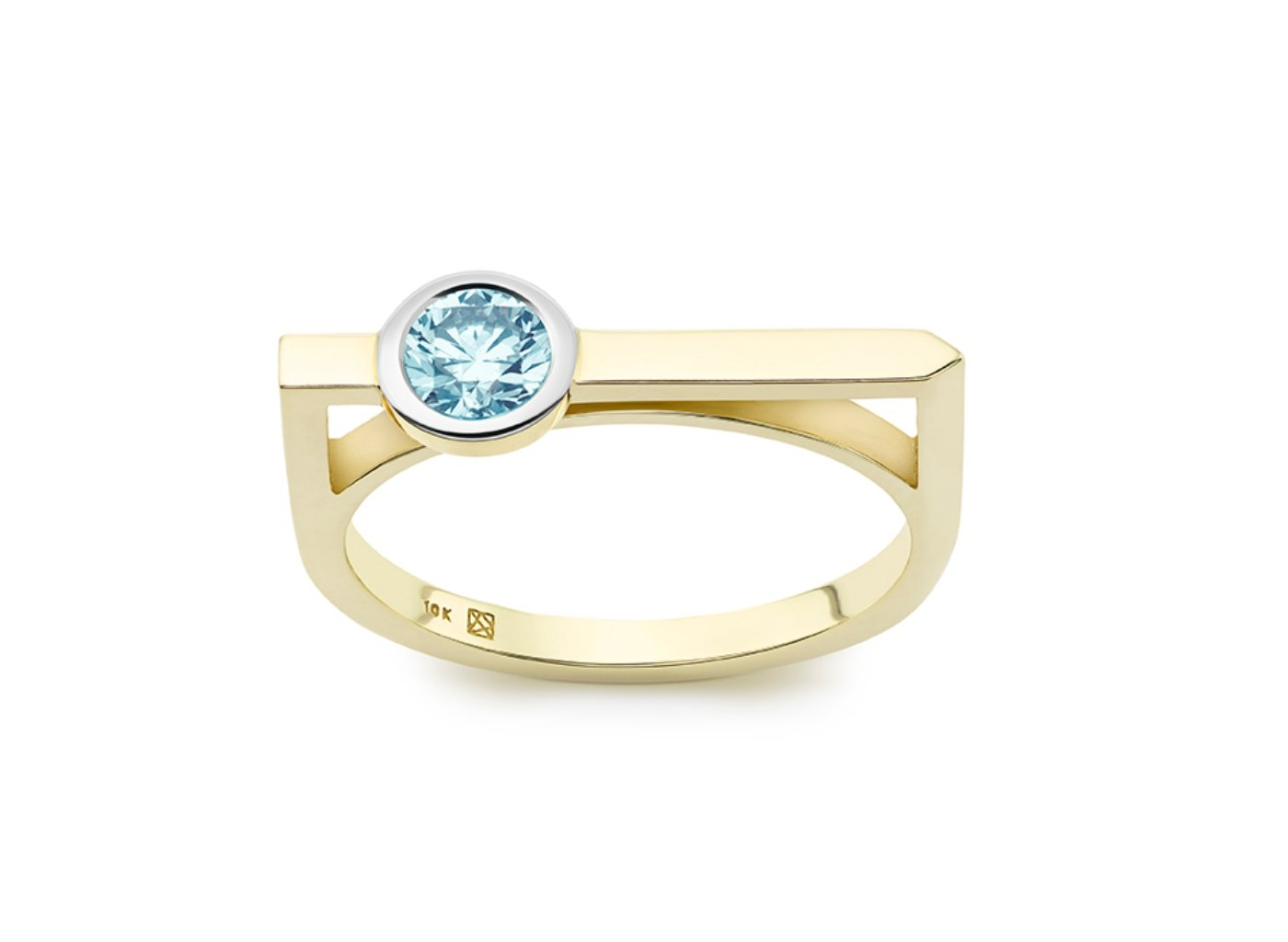 Front view of Solitaire linear 3/8 carat ring with blue diamond