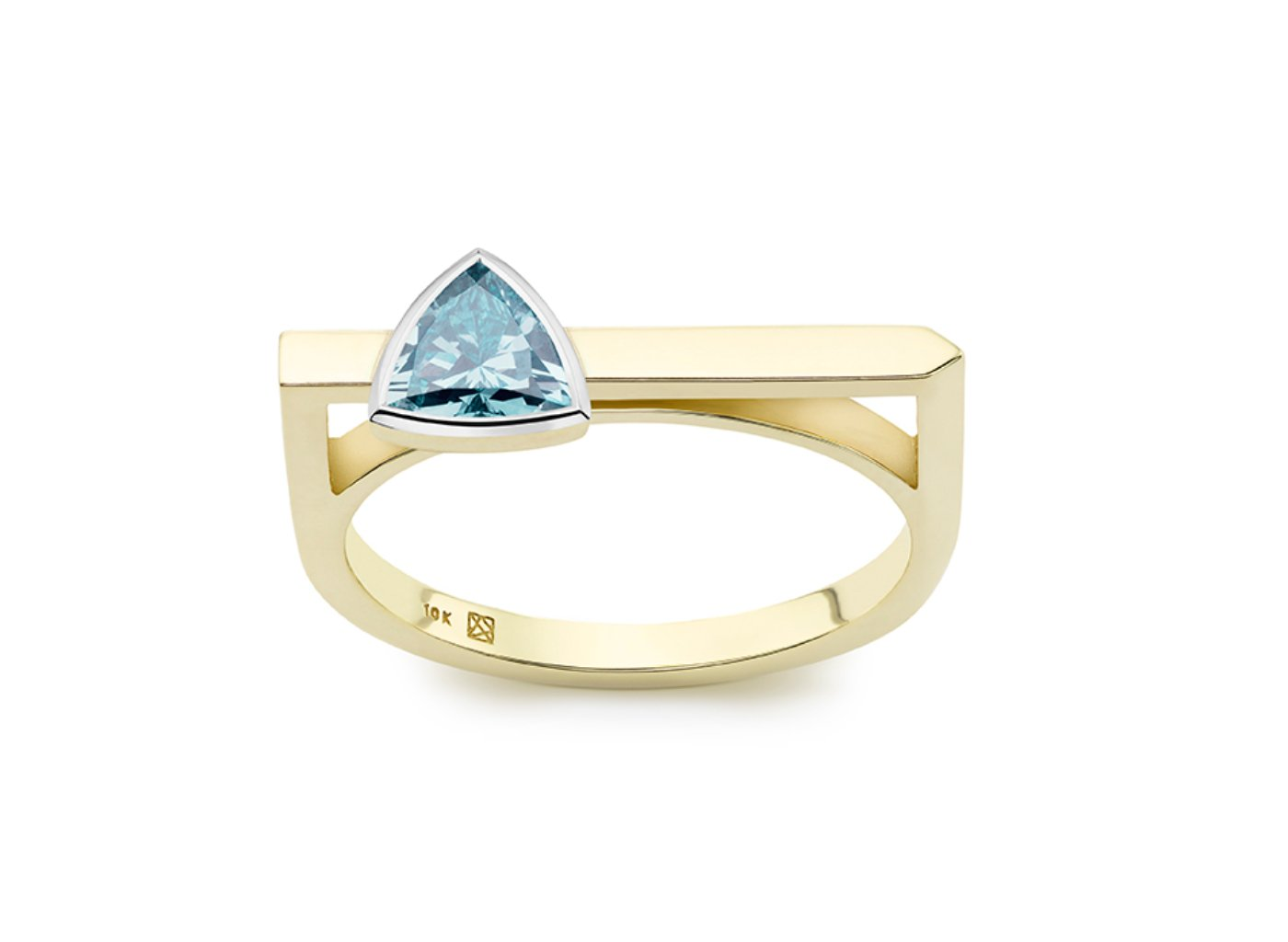 Front view of Trillion linear 3/8 carat ring with blue diamond