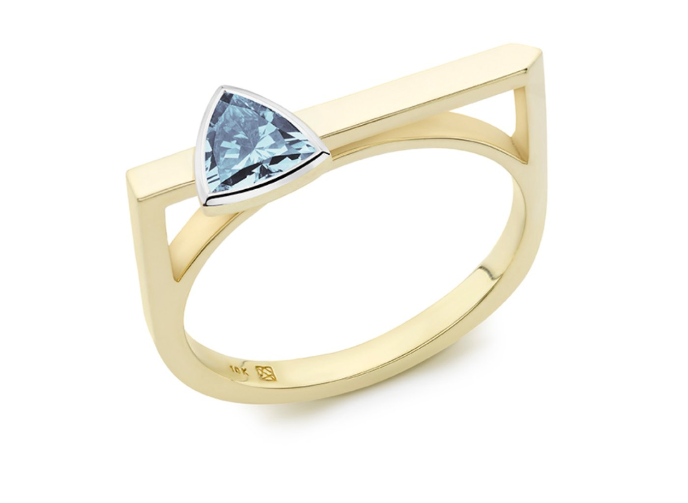 Side view of Trillion linear 3/8 carat ring with blue diamond