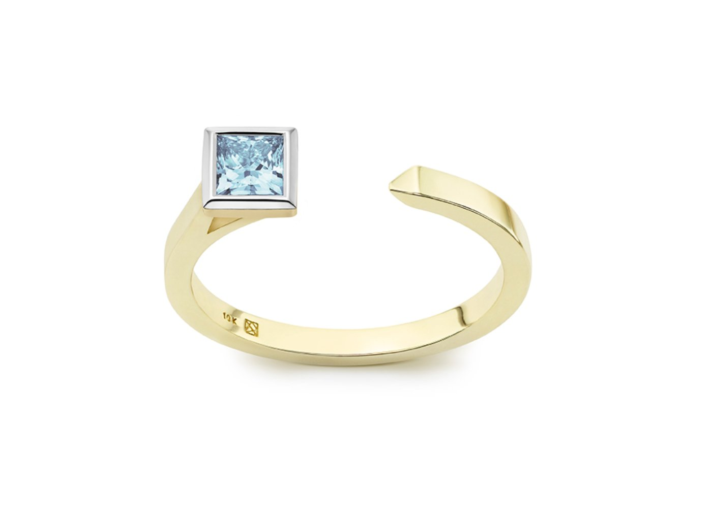 Front view of Princess open top 3/8 carat ring with blue diamond