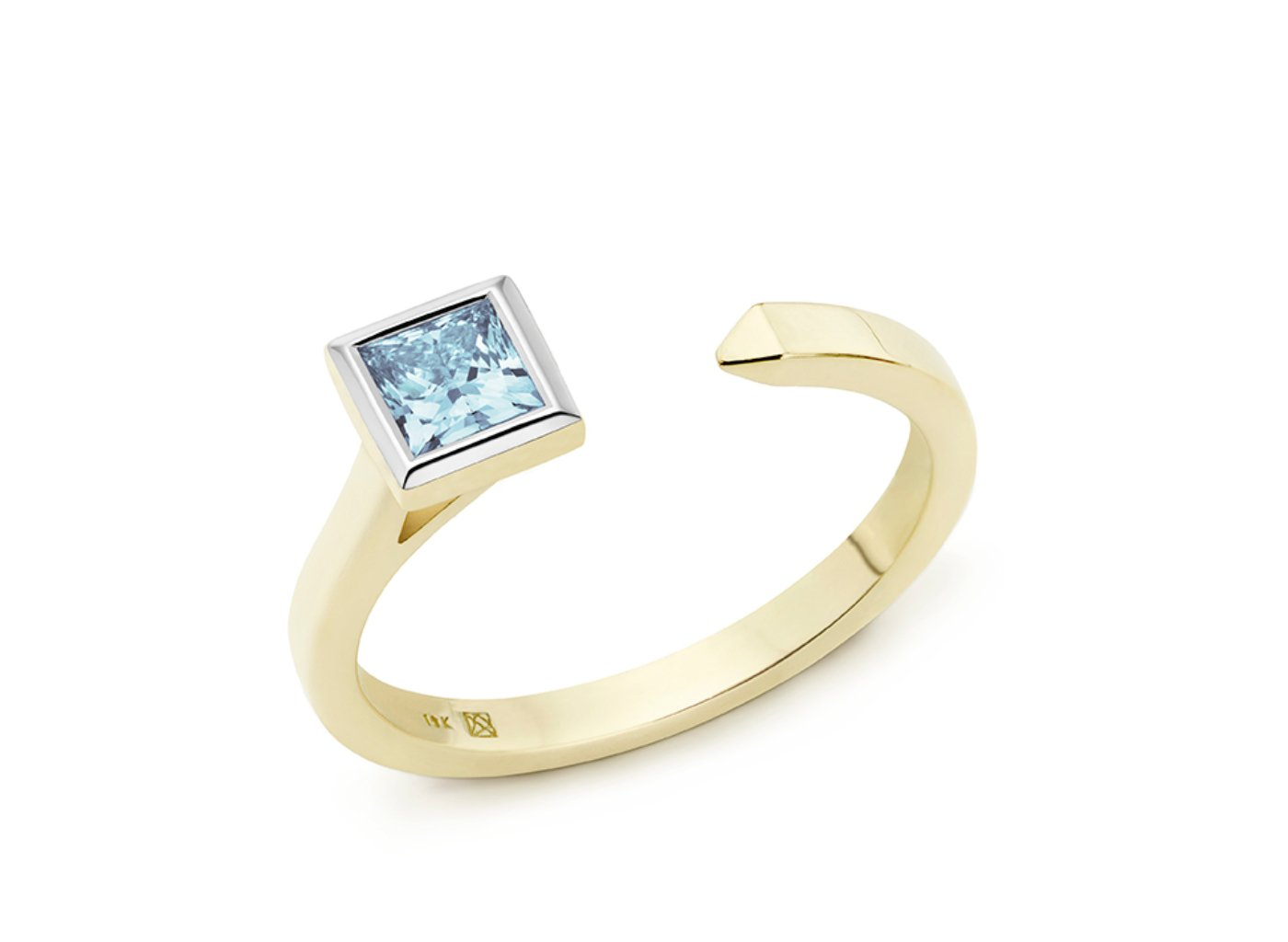 Side view of Princess open top 3/8 carat ring with blue diamond