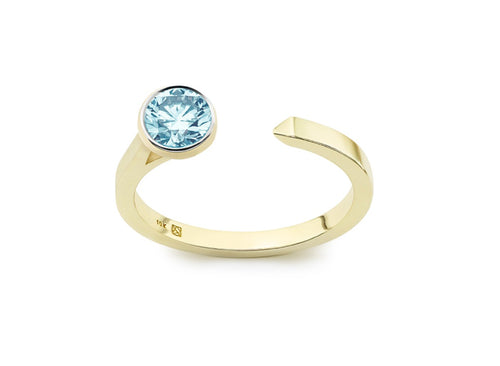 Image: Front view of Solitaire open top 3/8 carat ring with blue diamond