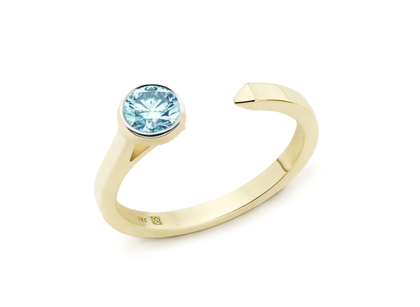 Side view of Solitaire open top 3/8 carat ring with blue diamond