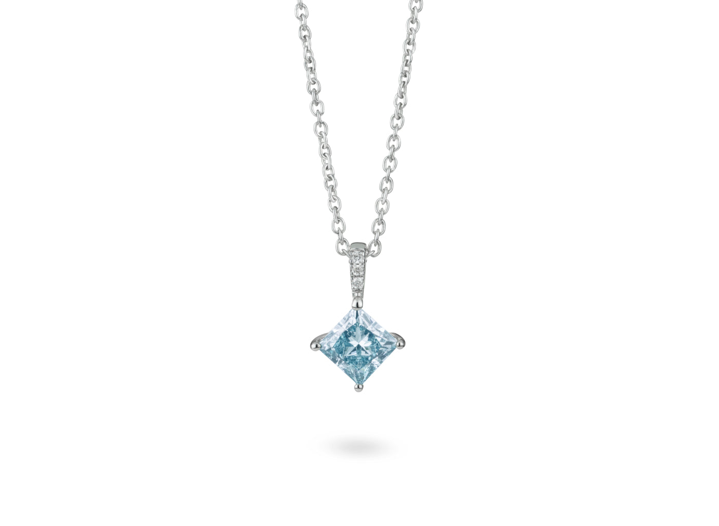Front view of Princess pavé 1 carat pendant with blue and white diamonds