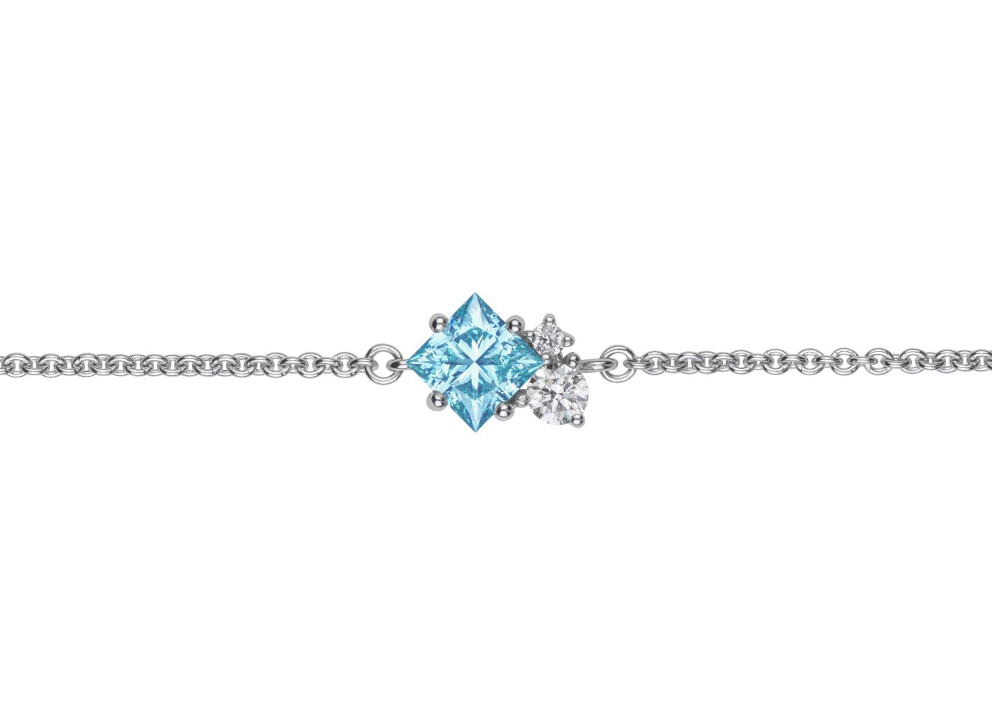 Front view of Princess Cluster 3/4 carat bracelet with blue and white diamonds