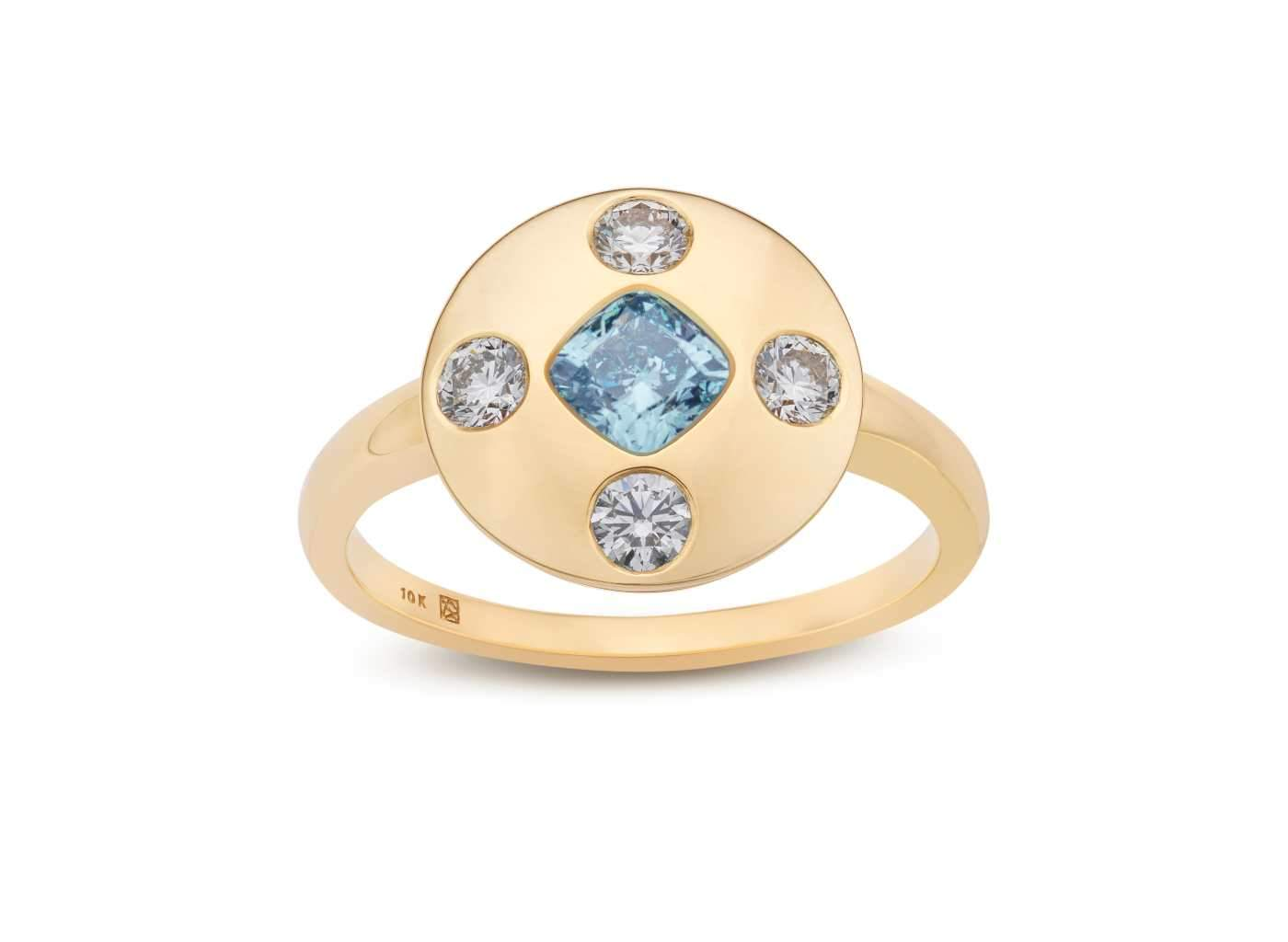 Front view of Muli Stone Signet Ring with blue and white diamonds