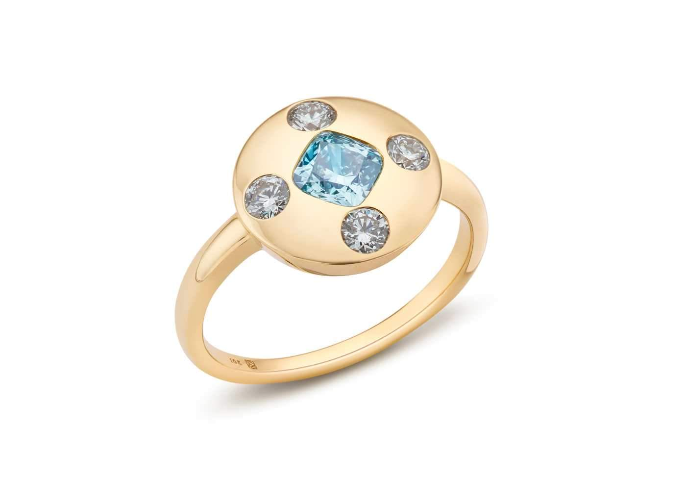 Side view of Muli Stone Signet Ring with blue and white diamonds
