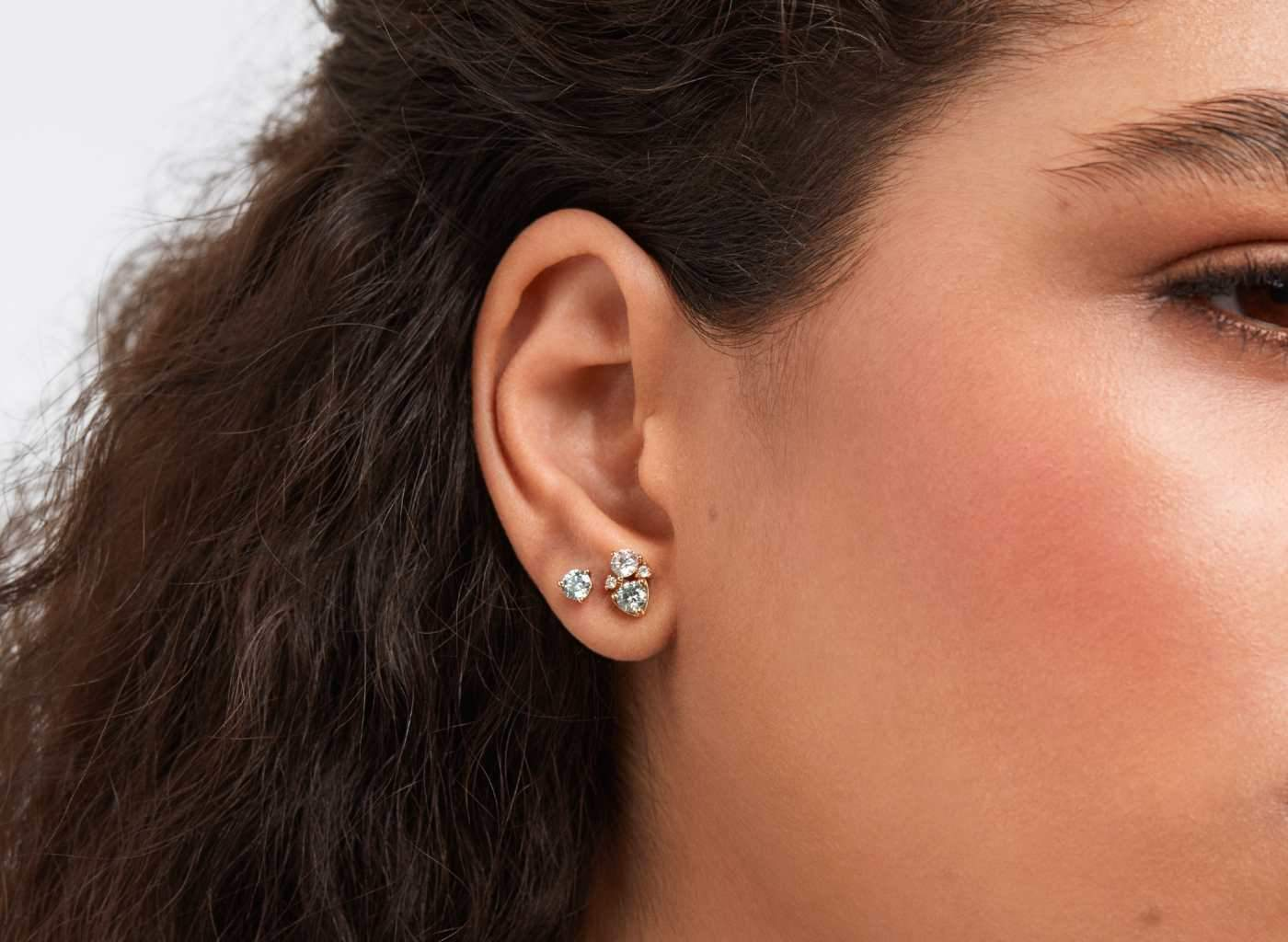 Four Stone Cluster Earrings in Blue