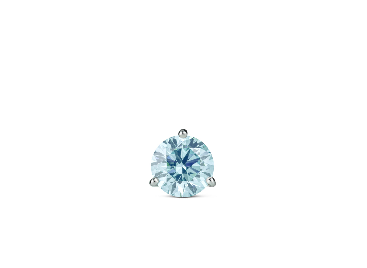 Front view of Solitaire 1 carat stud with blue diamond