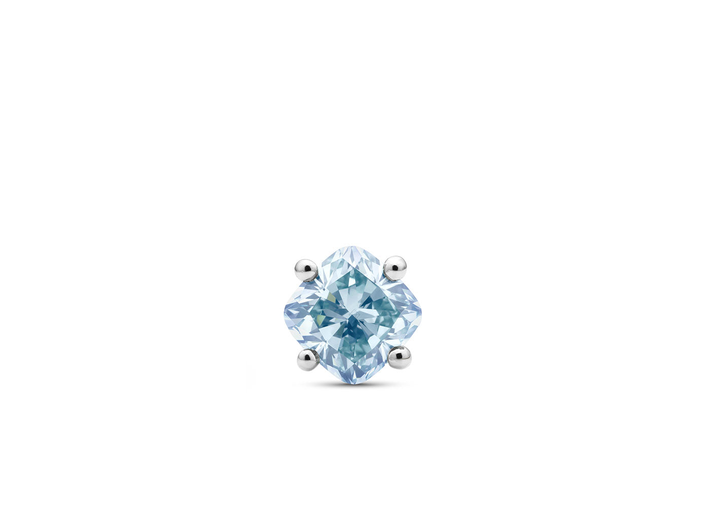 Front view of Cushion 1 carat stud with blue diamond
