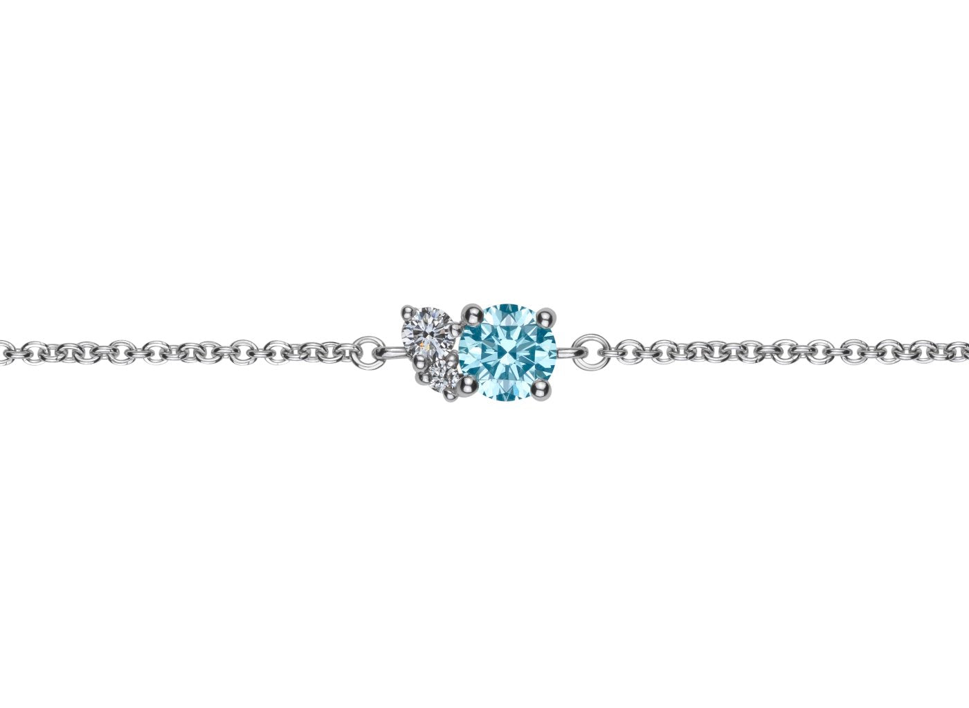 Front view of Cluster 1/2 carat bracelet with blue and white diamonds