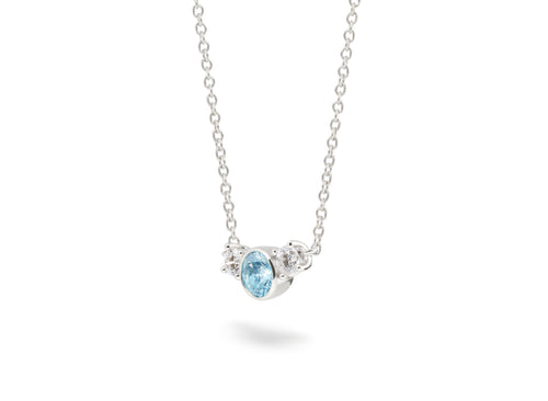 Image: Front view of Three Stone 3/4 carat pendant with blue and white diamonds