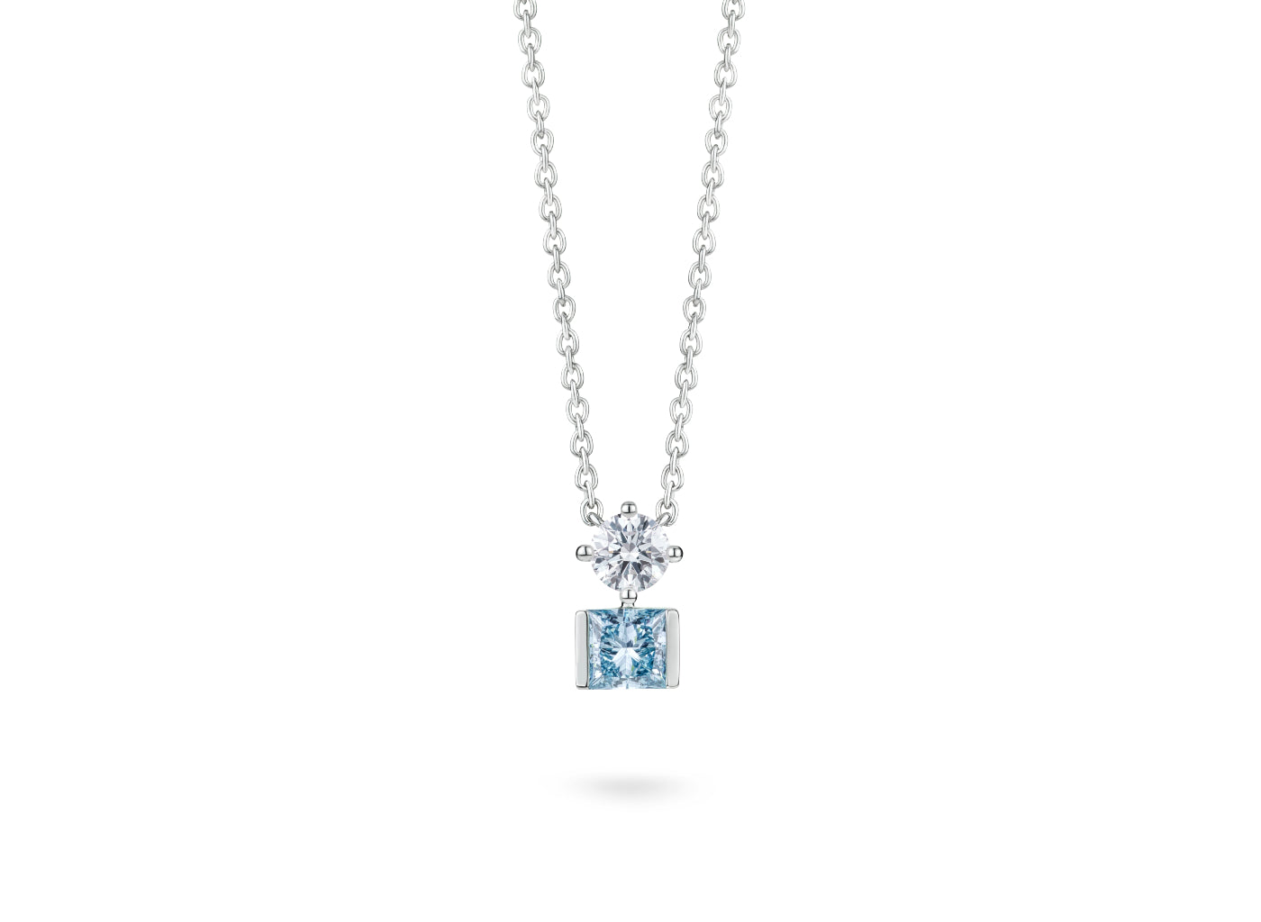 Front view of Mismatched Two Stone 1 carat pendant with blue and white diamonds