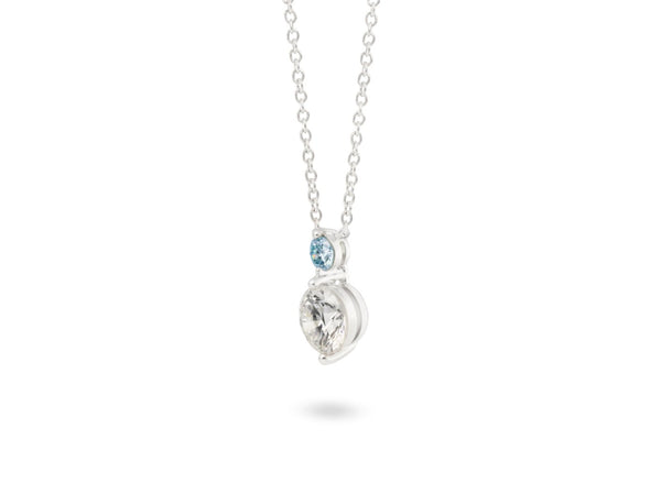 Image: Front view of Tow Stone 1 carat pendant with blue and white diamonds