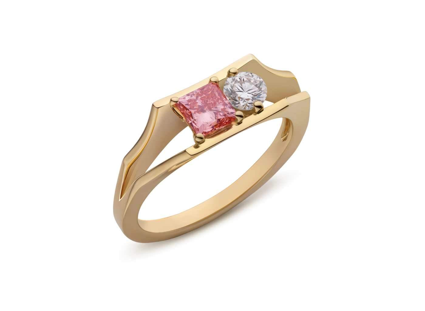 Two Stone Open Shank Ring in Pink