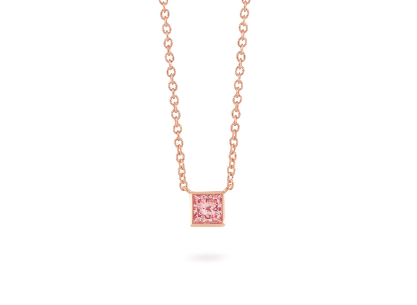 Front view of Princess Bezel 1/2 carat pendant with pink diamond